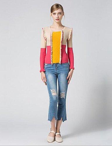 BaiChunYunYi Damen Standard Strickjacke-Lässig Alltäglich Einfarbig Rundhalsausschnitt Langarm Andere Herbst Mittel Mikro-elastisch