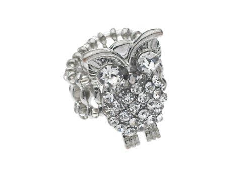 Austrian Crystal Owl Ring, Stretch Rolex Band in Sterling Silver overlay (Sterling Silver Stretch Ring)