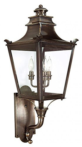 Troy Lighting Dorchester 3-Light Outdoor Wall Lantern - English Bronze Finish with Clear Glass