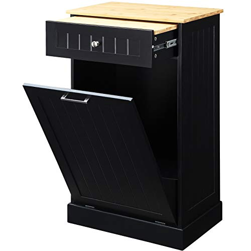 Seven Oaks Tilt Out Free Standing Kitchen Trash or Recycling Cabinet with Drawer, Removable Bamboo Cutting Board (Black)