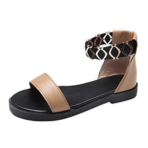Pandaie Womens ... Sandals Women's Fashion Casual Elastic Band Flat Sandals Ladies Low Heels Work Shoes Brown