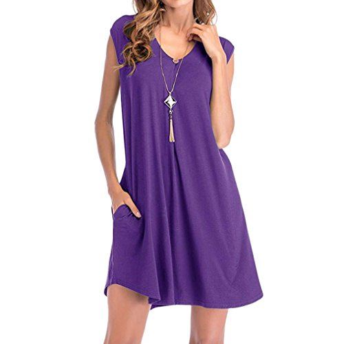 (baskuwish Clearance! Women's Solid Color Pocket Sleeveless Dress T-Shirt Dresses (Purple, L))