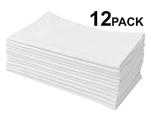 Cotton Craft 12 Pack Flour Sack Kitchen Towel Napkins - 100% Pure Ringspun Cotton - White - 28x28 Heavy Weight 900 Gram / 32 Ounce Woven Low Lint Construction - Multi Purpose & Versatile