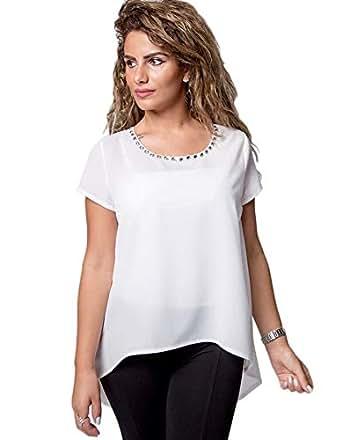 Aleenette White Round Neck Asymmetrical Top For Women