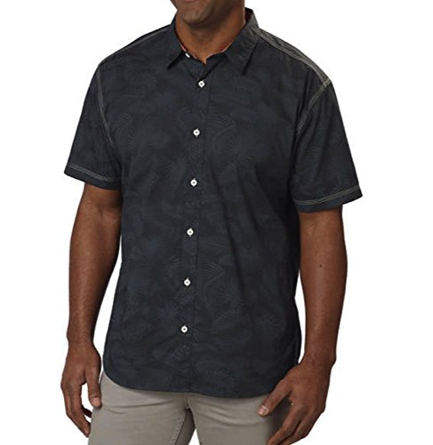 Cypress Club Mens Short Sleeve Woven Shirt (Large, Charcoal Bamboo - Outlets Prime Cypress