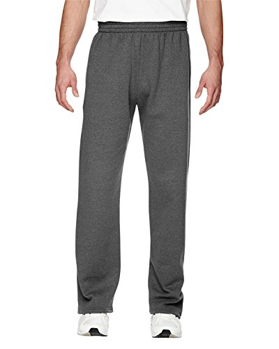 an Brand Fruit of The Loom Adult 72 oz Sofspun Open-Bottom Pocket Sweatpants - Charcoal Heather - M