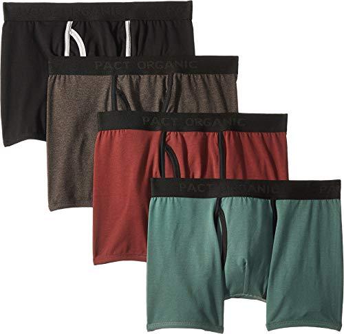 - Pact Men's Everyday Organic Cotton Boxer Brief 4-Pack Charcoal Heather/Pine/Black/Redwood Medium
