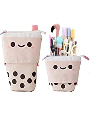 Red Dollar 2-Use Pen Pencil Telescopic Holder Stationery Case, Canvas Stand Transformer Bag with Cartoon Cute Milktea Smile Face Black Dot Organizer, Great for Cosmetics Pouch Makeup Bag