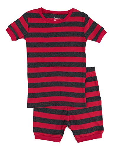 Leveret Shorts Pajamas Boys 2 Piece Pajamas Set 100% Cotton (Red/Grey,Size 3 Toddler) ()
