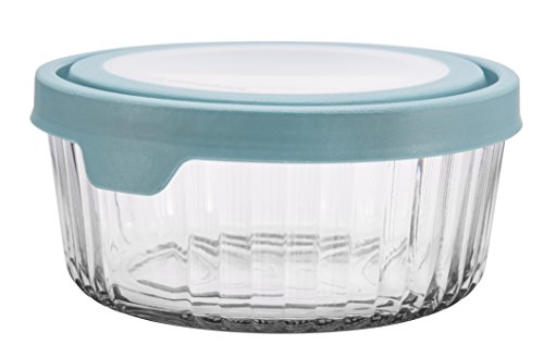 Anchor Hocking TrueSeal Embossed Glass Food Storage Container with Airtight Lid, Mineral Blue, 7 Cup