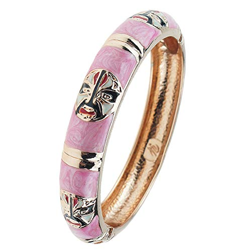 UJOY Vintage Cloisonne Jewelry Colorful Hinged Indian Style Enamel Bracelet Bangle for Women 55A40 Light Pink