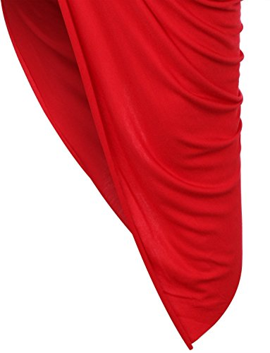 Womens Fitted Draped Asymmetrical Hi Low Skirt With Stretch
