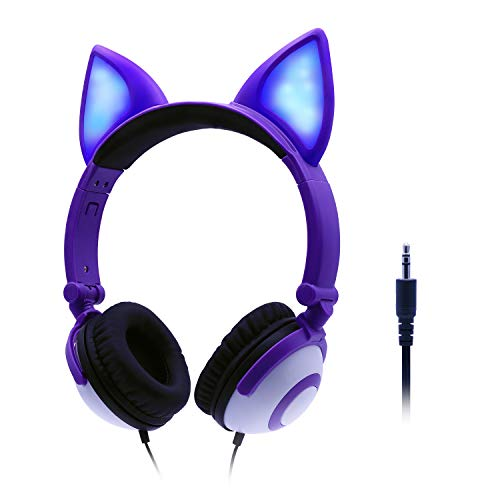ONTA Kids Headphones with Cute LED Glowing Cat Ears,Foldable, Noise-Canceling and Adjustable Toddlers Headphones for Boys and Girls (Purple) (Cute Headphones For Kids)