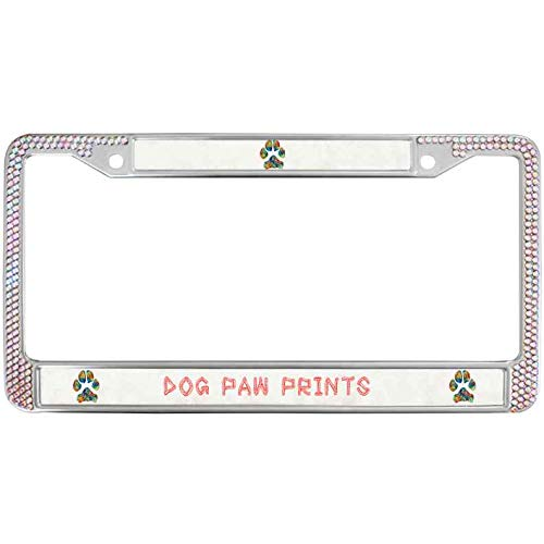 (Sutenking Dog Paw Prints Bling Rhinestones License Plate Metal Frame Lovely Dog Color Crystal Rhinestone Car Licenses Plate Frame with Screws Caps)