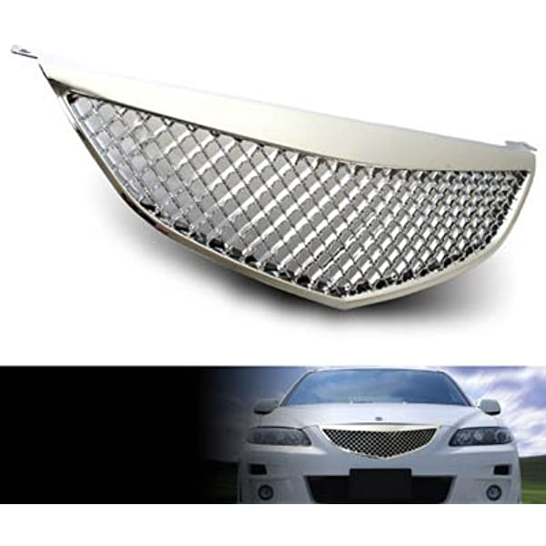 Grille Assembly Compatible with 2003-2005 Mazda 6 Painted Black Shell and Insert with Chrome Upper Bar Standard Type Factory Installed