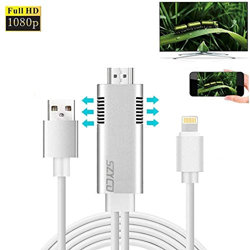 Lighting to HDMI Adapter Cable, SZYCD 6ft Mirroring Screen Cable with USB Charging Compatible for Phone XS/X/XR/8/7/6/5 Series, Pod/Pad mini/Air to HDTV Monitor Projector ()