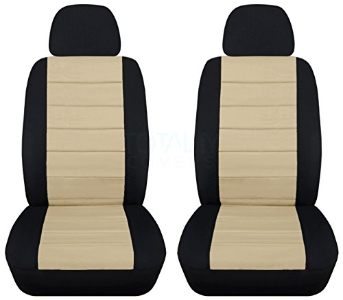 2-Tone Car Seat Covers w 2 Separate Headrest Covers: Black and Sand - Semi-Custom Fit - Front - Will Make Fit Any Car/Truck/Van/SUV (22 Colors) ()