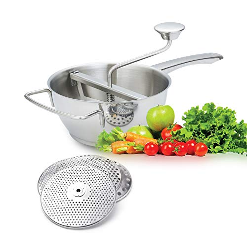 Rotary Food Mill with 4 milling Disks, 18/10 Stainless Steel Hand Crank Manual Grinder for Vegetable Mashed Potato Tomato Applesauce Dishwasher Safe by ROYDOM