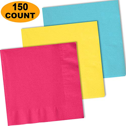150 Lunch Napkins, Electric Pink, Lemon Yellow, Island Blue - 50 Each Color. 2 Ply Paper Dinner Napkins. 6.5
