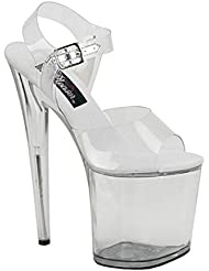 8 Inch Heel Clear High Platform Shoe Ankle Strap Sexy Stripper Shoes Open Toe