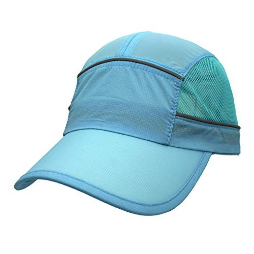 Reflective Strip Quick-Drying Visor,Sun Hats for Women Wide Brim UV Protection Summer Beach Packable Visor Beach Cap Sky Blue