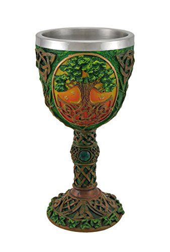 Resin Goblets Tree Of Life Celtic Knotwork Chalice W/Stainless Steel Insert 3.75 X 7.5 X 3.75 Inches Multicolored by Zeckos (Image #4)