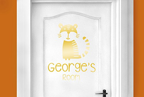 personalised tiger kids door room stickers art decals - Shiny Gold (Height 48cm x Width 40cm) (Personalised Tiger)