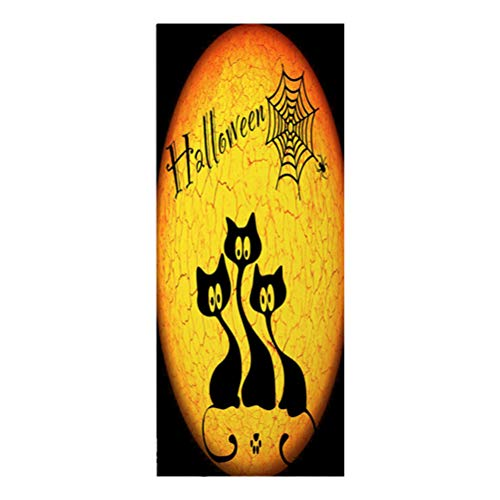 Vosarea Halloween Door Covers Black Cat Pattern 3D Door Sticker Wallpaper for Halloween Party Haunted House Scary Decorations ()