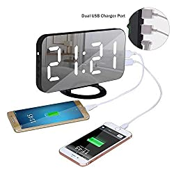 TOP-MAX Digtial Alarm Clock with 6.5 Large Mirror Surface, Loud Electric Alarm Clock with Dual USB Charger Ports,4 Adjustable Dimmer Brightness,Snooze Function Bedside Alarm Clock for Heavy Sleeper
