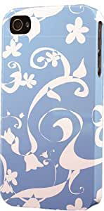 Blue Floral Pattern Dimensional Case Fits Apple iPhone 4 or iPhone 4s