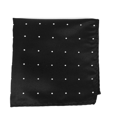 The Tie Bar 100% Woven Silk Black Satin Dot Pocket Square