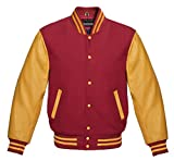 Men's Authentic American Varsity Letterman Jacket Maroon Wool Blend & Genuine Gold Leather Sleeves College School University Team Class Baseball Jacket (M)