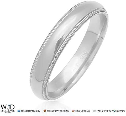 14K Solid White Gold 4mm High Polish Milgrain Wedding Band Ring Size 8