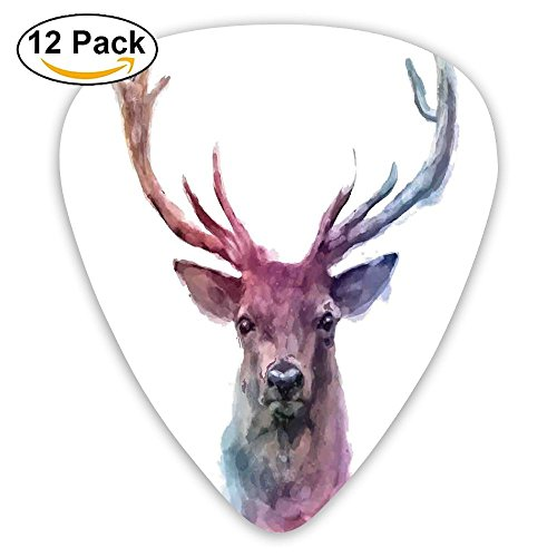 (Newfood Ss Illustration Of Male Stag With Soft Pale Colors Antlers Wildlife Nature Artful Guitar Picks 12/Pack Set)