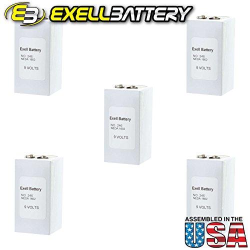 5pc Exell 246 Alkaline 9V Battery NEDA 1602, PP6, 6F50-2 by Exell Battery