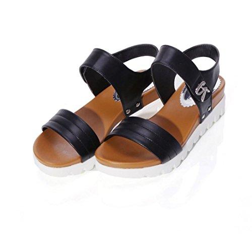Ladies Sandals Wedge Wrap Fashion Inkach Flat Summer Shoes Womens Platform Ankle Buckle Sandals Black WqSYwgB