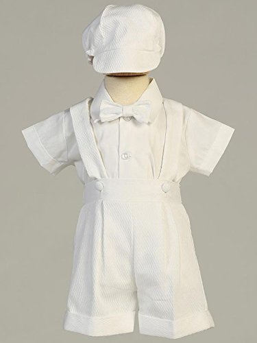 MARCUS Boys Baptism Christening Poly Cotton White Suspender Shorts Set with hat (made in USA) sizes 0-3m 3-6m 6-12m 12-18m 18-24m Price £40