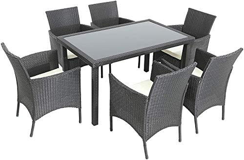 Gharpbik 7 Piece Patio Wicker Dining Set, Outdoor Rattan Dining Furniture  Glass Table Cushioned Chair,Black