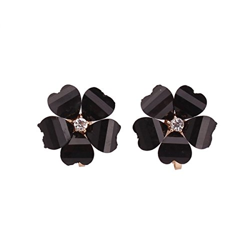 Grace Jun Silver Plated or Gold Plated Opal Flower Shape Clip on Earrings Non Piercing for Women ()
