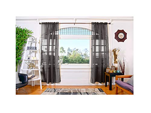 Doli 2 Piece (Black) Sheer Window Curtains Panels Set ( 54 Inch W x 84 Inch L ) High Quality Window Draperies, Vibrant Window Treatment, for Living Room, Kids Room, Bedroom and Kitchen (Panels Lace Curtain Black)