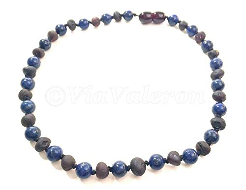 - Lapis Lazuli & RAW Cherry Baroque Baltic Amber Teething Necklace 1x1 - Knotted - Gemstone - Drooling - Chewing - Pain -Immune Boost-Asthma
