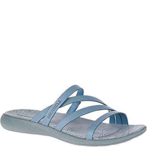 Leather Comfort Slides - Merrell Women's Duskair Seaway Slide Leather Sandal, Blue Heaven, 11 Medium US