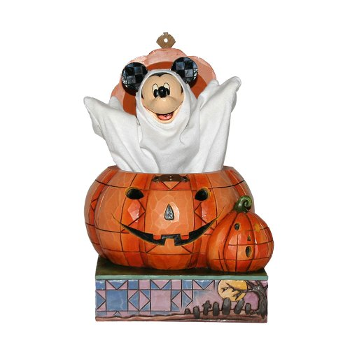 Enesco Disney Traditions by Jim Shore 4016580 Mickey Popping Out of a Pumpkin Figurine, 6-Inch