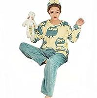 Liseaforu Womens Cute Cartoon 2 Pieces long Sleeve Warm Fleece Pajamas Set