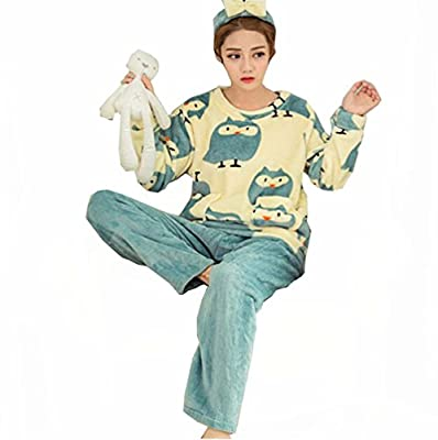 Liseaforu Womens Cute Cartoon 2 Pieces long Sleeve Warm Fleece Pajamas Set