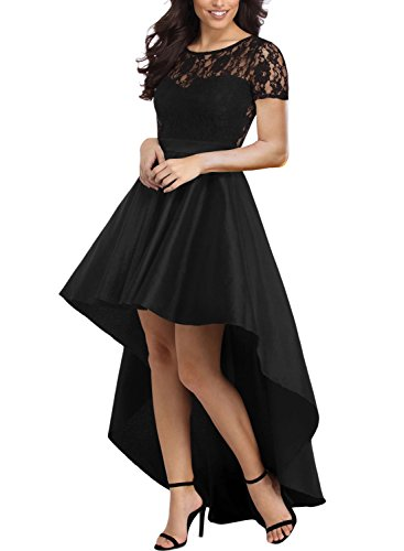 Bodice Little Black Dress - Elapsy Womens Short Sleeve Lace Bodice Elegant High Low Hem Party Long Skater Dress Cocktail Gown Black Large