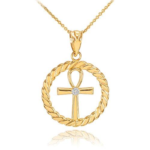 Collier Femme Pendentif 14 Ct Or Jaune Côtelé Cercle Égyptien Ankh Croix avec Diamant (Livré avec une 45cm Chaîne)