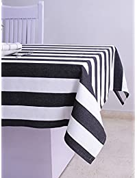 Table cloth,Twill stripe, 100% cotton, Eco-Friendly and safe, black/white color, suitable for home use, size 60...
