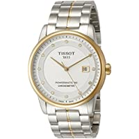 Tissot Luxury Automatic Diamond Silver Dial Two-Tone Stainless Steel Mens Watch