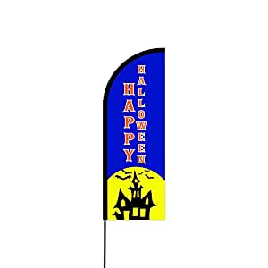 Happy Halloween Logo Sign Feather Flag, Swooper Advertising Flags, Flutter Banner - Pre Printed Flag Only (11.5' Feet)